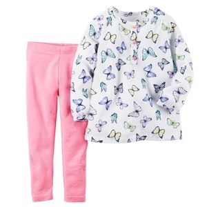 Carter's Butterfly Top and Pink Leggings Set
